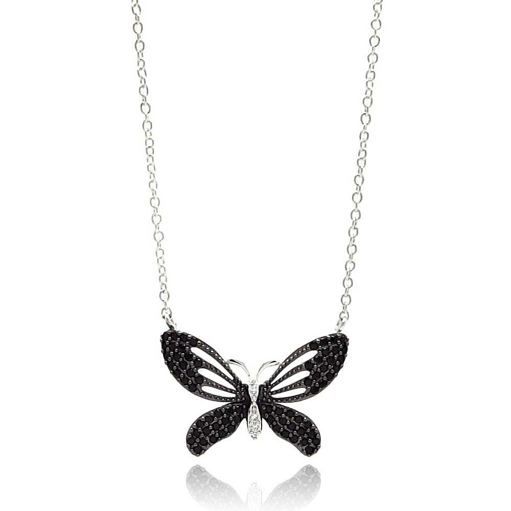 "Sterling Silver ""Butterfly"" Necklace - Click Image to Close"